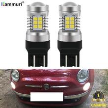 Kammuri (2) nenhum erro branco t20 w21/5w 7443 lâmpadas led para fiat 500 2009 - 2016 led drl luzes diurnas 1200lm