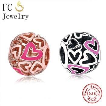 FC biżuteria Fit oryginalna bransoletka typu Charm pandora autentyczne 925 srebrna róża złoto różowa emalia serce koralik do wyrobu kobiet Berloque