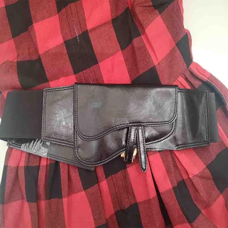 Cosmicchic D Letter Women Real Leather Wide Belts Elastic High Waist Black Belt Metal Letter Femme 2019 Casual Cummerbunds