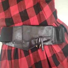 Cosmicchic D Letter Women Real Leather Wide Belts Elastic High Waist Black