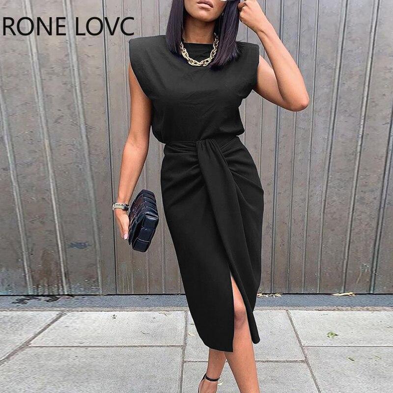 Women Sold Sleeveless Top & Slit Twisted Midi Skirt Set Elegant Fashion Chic Dress 3