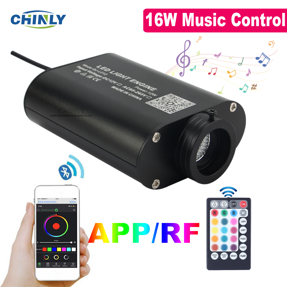 APP Control 16W Musical Flash Fiber Optic Light Engine Car Star Ceiling Light Source RF Remote Sound Control DC12V LED Driver