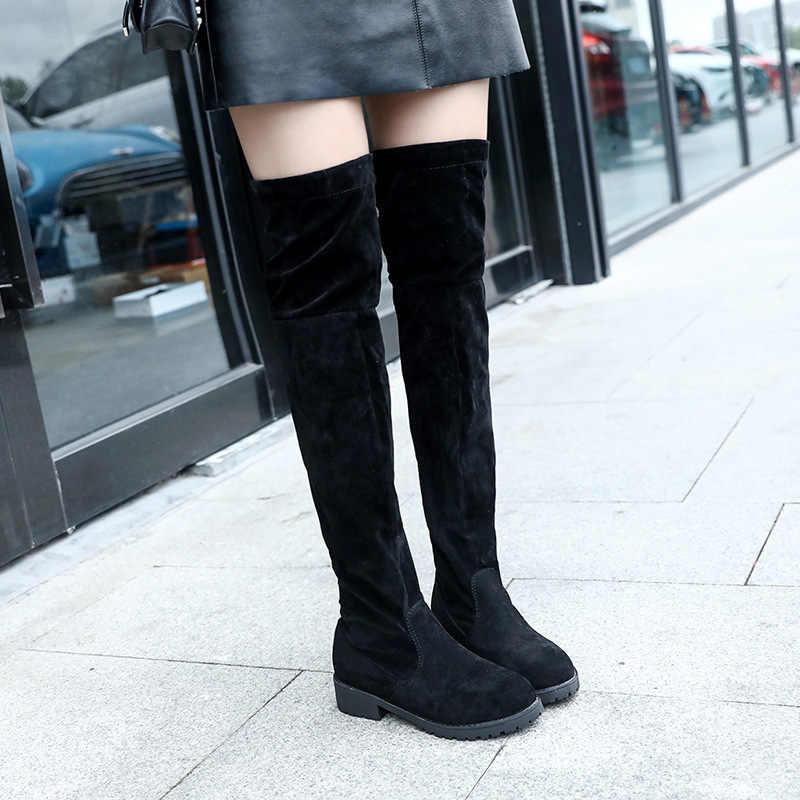 Mode Neue Heiße Frauen Stiefel Herbst Winter Damen Flachen Boden Stiefel Schuhe Über Das Knie Oberschenkel Hohe Schwarze Wildleder Lange stiefel 40