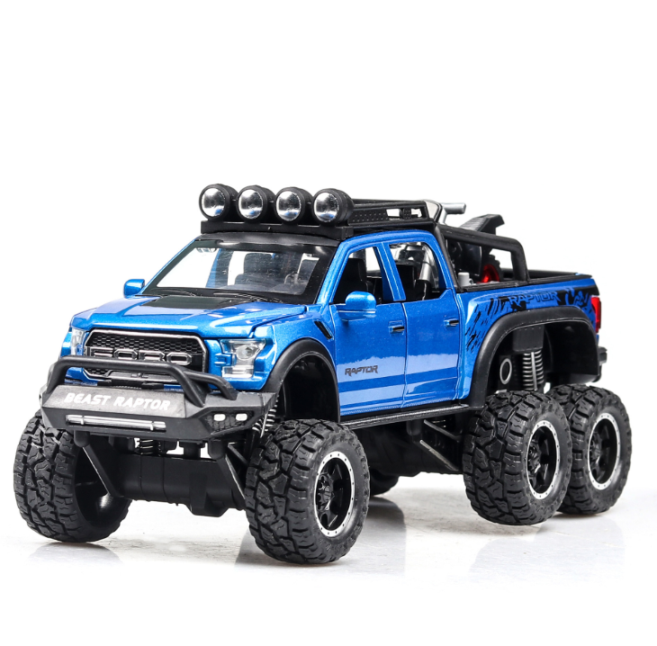 New 1:32 Ford Raptor F150 Big Wheel Alloy Diecast Car Model With With Sound Light Pull Back Car Toys For Children Xmas Gifts 1