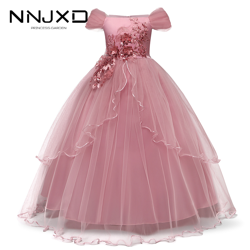2019 Girls Summer Dress Embroidery Bridesmaid Princess Dress Kids Dresses For Girls Children Party Wedding Dress 10 12 14 Years 1