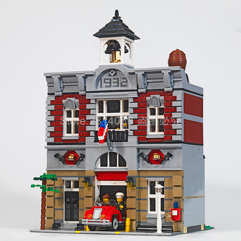 15004/84004 2313Pcs City Street Series Fire Brigade Model Building Brick Compatible <font><b>10197</b></font> Children's Toys Gifts image