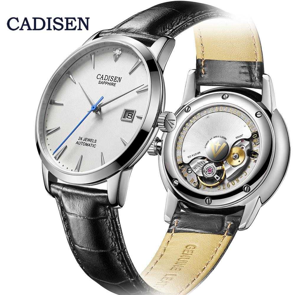 Relógio de Pulso Relógio de Vidro Cadisen Masculino Relógios Automático Mecânico Miyota 9015 Marca Superior Luxo Real Diamante Safira Curvo