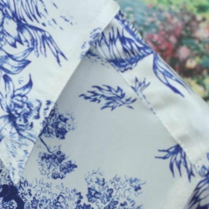 Women Shirt Turquoise Printed Silk Twill Shirt Collar