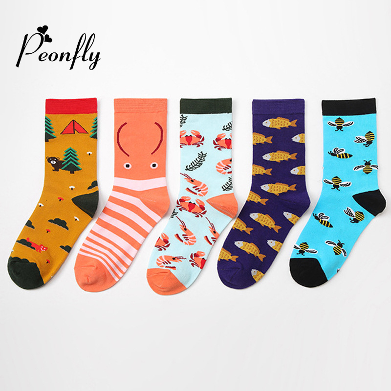 PEONFLY New Combed Cotton Women's Crew Socks Funny Harajuku Cute Novelty Cartoon Fish Shrimp Bee Christmas Socks Gift