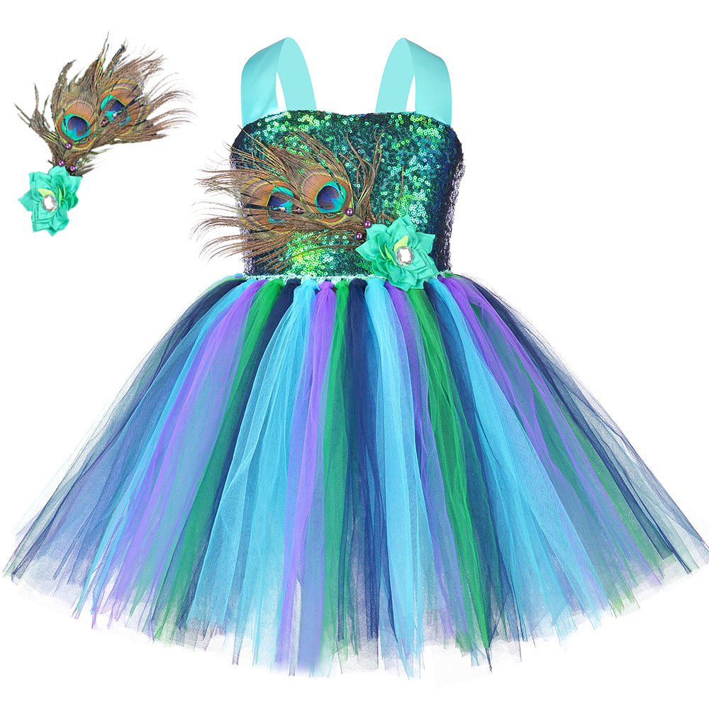 Flower Feathers Girls Peacock Tutu Dress Kids Tulle Princess Peacock Costume for Girls Pageant Halloween Birthday Party Gown
