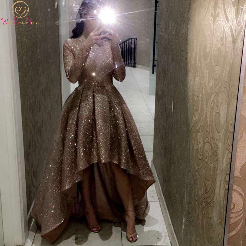 Short Front Long Back Prom Dresses For Women 2019 New Champagne Long Sleeves O Neck Bling Seqiuned Formal Party Evening Gowns
