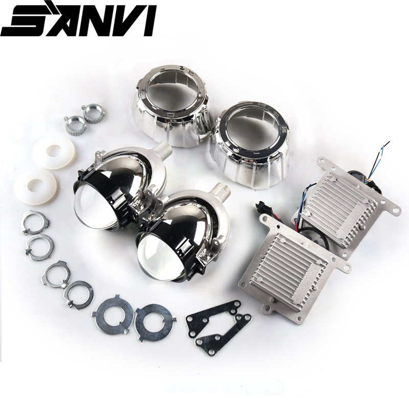 Sanvi 2.5 Inch 35W 5500K Bi LED Lens  Headlight Auto Projector H4 H7 9006  LED Light Retrofit Kits Car Motorcycle Headlight