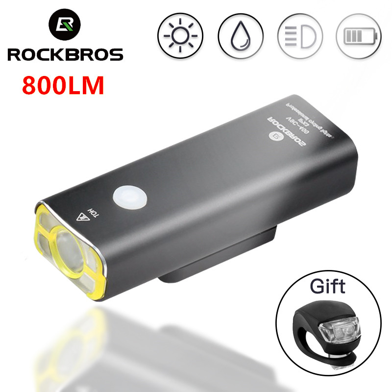 ROCKBROS Waterproof Bike Headlight MTB Bicycle Front Lamp Rechargeable Bicycle Light Cycling Riding Flashlight Bike Accessories