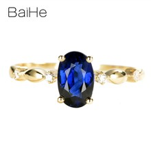 BAIHE Solid 14K Yellow Gold Certified 1ct Oval No main stone 0.04ct Diamonds Women Fine Jewelry Elegant unique Semi Mount Ring(China)