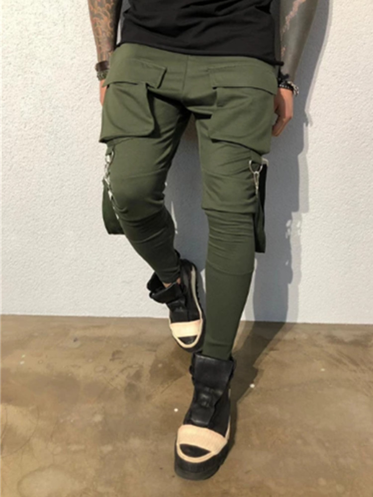 Hot Side Pockets Pencil Pants Mens Hip Hop Patchwork Cargo Ripped Sweatpants Joggers Trousers Male Fashion Full Length Pants