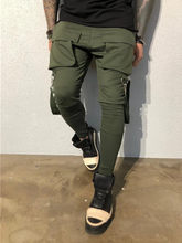 Hot Side Pockets Pencil Pants Mens Hip Hop Patchwork Cargo Ripped Sweatpants Joggers Trousers Male Fashion Full Length Pants(China)
