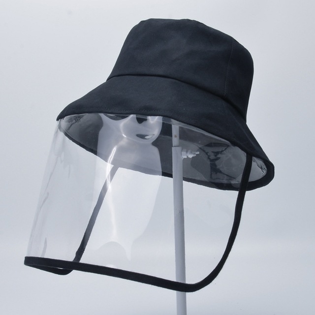 Transparent Adults Unisex Anti-spitting Hat Dustproof Cover Cap Bucket Hat Virus Protection Caps Face Mask For Flu Fisherman Cap 3