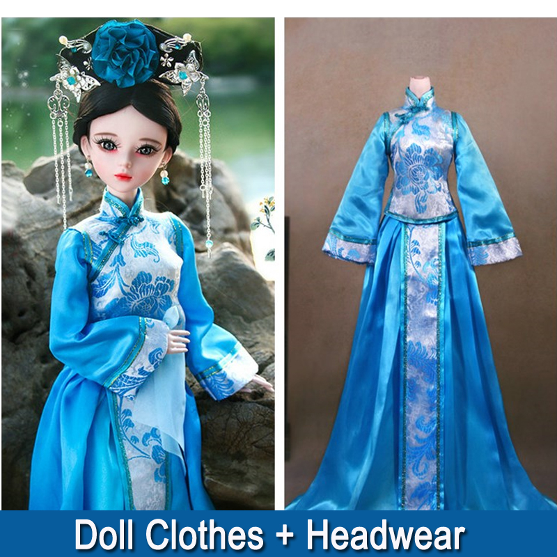 <font><b>1/3</b></font> <font><b>BJD</b></font> Doll <font><b>Clothes</b></font> Handmade Chinese Costume Female Clothing Girl Dress for 60cm Dolls Toy Dolls Accessories image