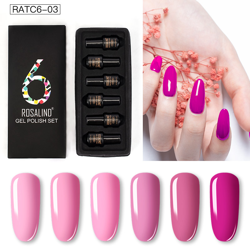 ROSALIND Gel Nail Polish Set Solid Color Nail Kit For Manicure Vernis Semi Permanent 7ML Gel Kit Top And Base All For Manicure 27