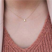 Новинка, золотое, серебряное, минималистичное A-Z, 26 букв, ожерелье s для женщин, ожерелье с подвеской