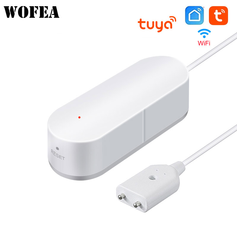 Wofea Smart Wifi Water Leakage App Notification Alerts Battery Operated Home Security Sensor Tuya Support Alexa Google Home