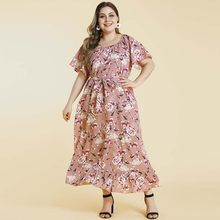 WHZHM Pink Flower Plus Size 3XL 4XL Dress Women Party Short Flare Sleeve Vestidos O-Neck Floral Printed Maxi Sashes Dress Ladies(China)