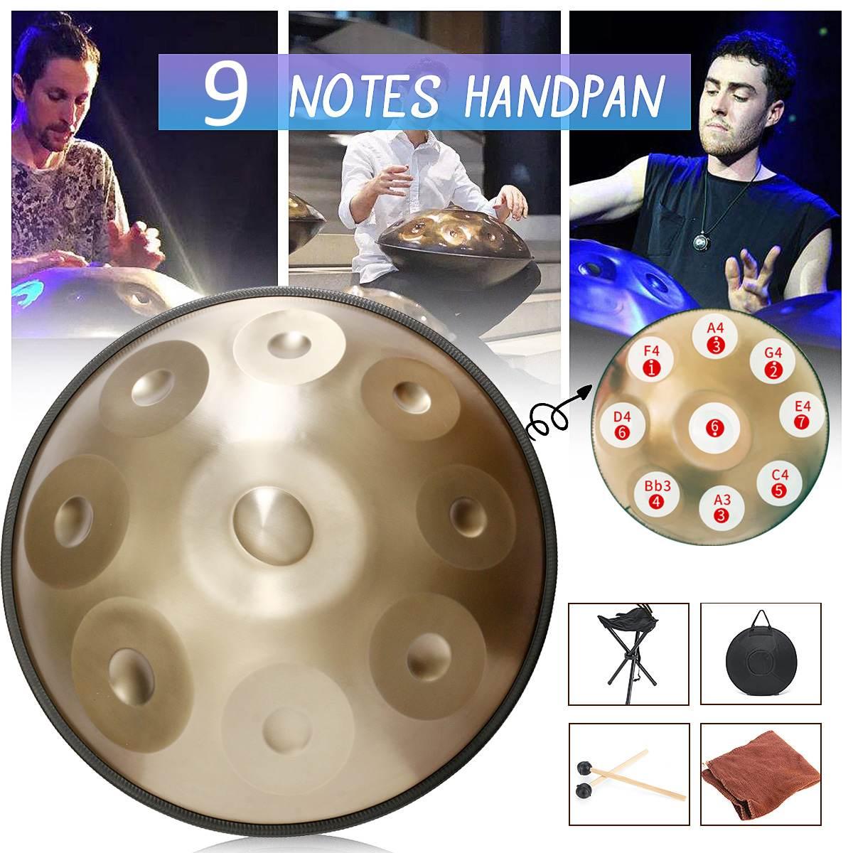 Tambours à main en alliage faits à la main 9 Notes F majeur D mineur tambour à main musique accrocher tambour + sac de rangement Instruments de musique à Percussion