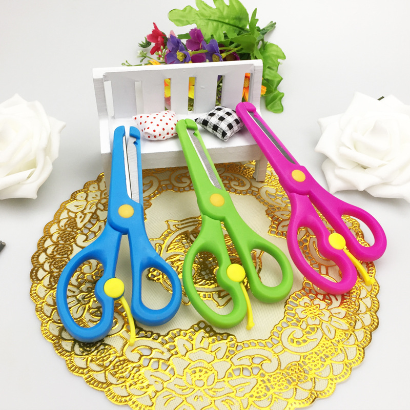 C132 Wholesale Children Primary School STUDENT'S Only Scissors Plastic Anti-Scratch Cut Art DIY Office Learning Supplies