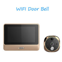 Deurbel Goud Home Video-Eye Wifi Digitale Deur Kijkers Ips Security Viewer Camera Nachtzicht Motion Sensor Intercom telefoon App(China)