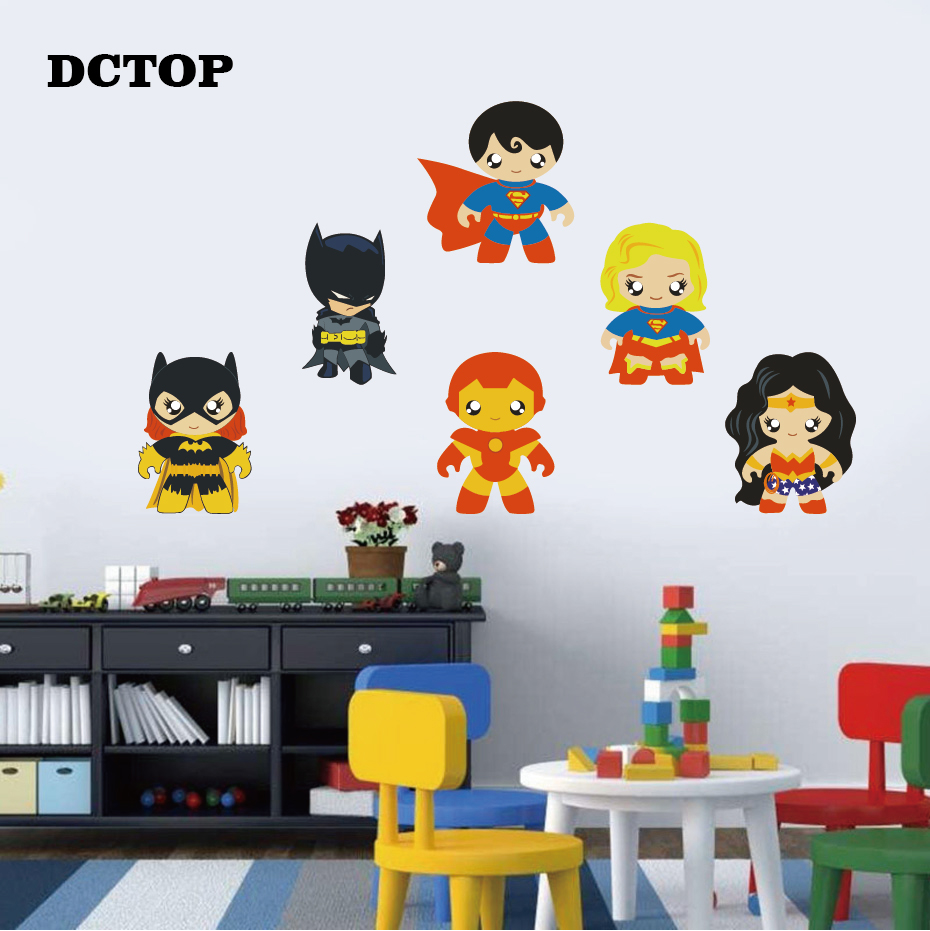 6PCS Cute Superhero Wall Sticker Art Vinyls DIY Super Girl Bat Hero Decal for Kids Nursery Room Decor Removable Home Funny Mural