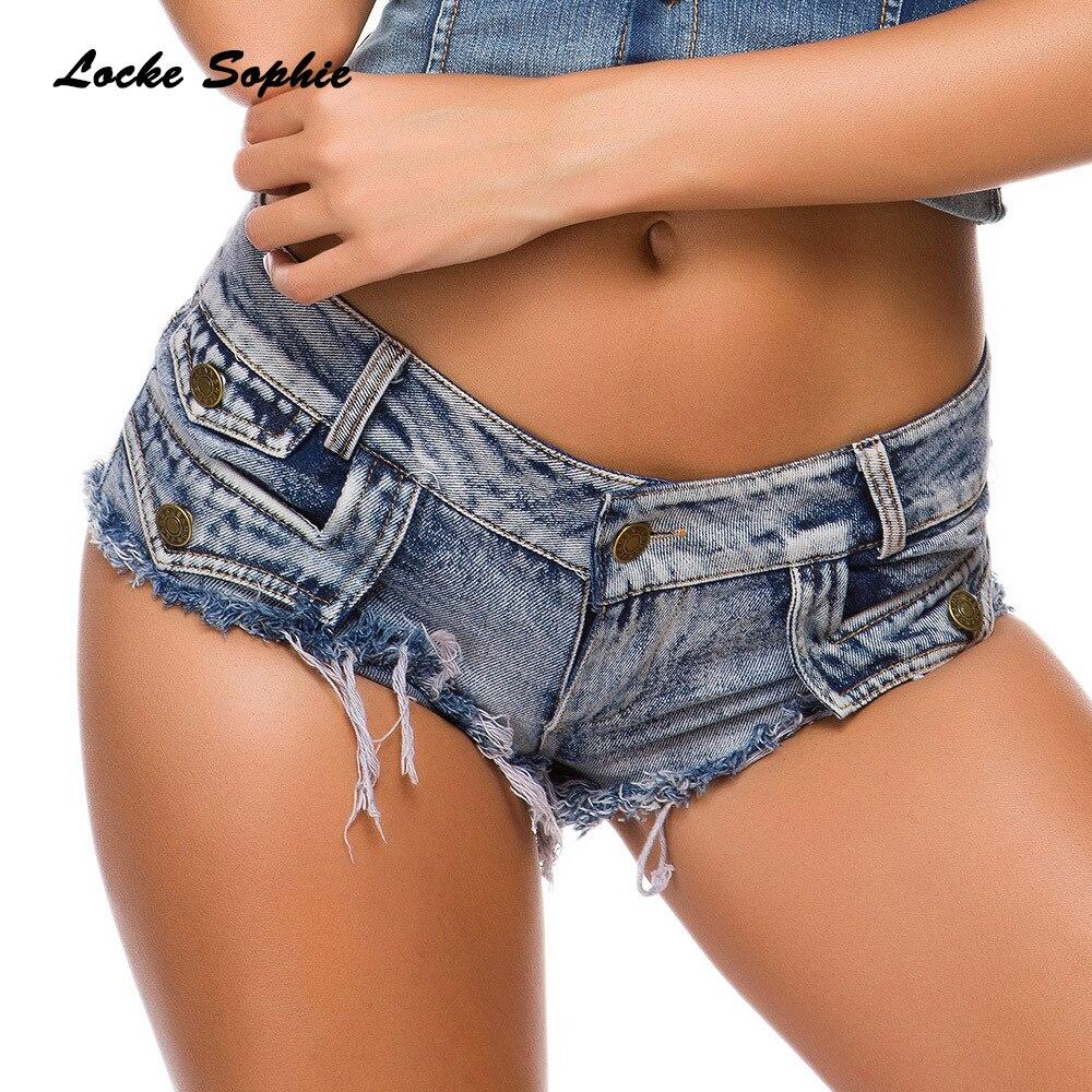 Low Waist Women Jeans Denim Shorts 2019 Summer Denim Cotton Button Splicing Hole Ladies Skinny Sexy Nightclub Super Short Jeans
