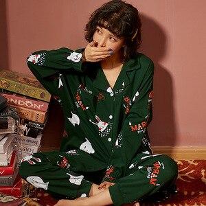 Image 4 - New Autumn Winter Sleepwear 2 Piece Sets For Womens Cotton Pajamas Turn down Collar Homewear Large Size 3XL Pijama Soft Pyjama