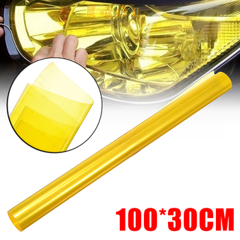 30cmx100cm Car Light Headlight Taillight Vinyl Film For Headlights Tint Wrap Sticker Colorful Adhesive Film Yellow image