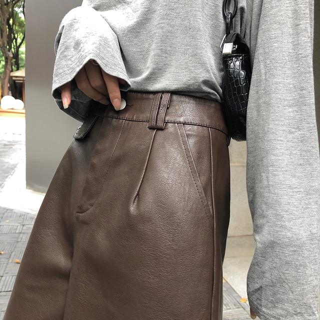 QOERLIN PU Bermuda Shorts for Women Faux Leather Shorts Stylish High Waist Shorts Streetwear Plus Size Pockets Trouser Female 5