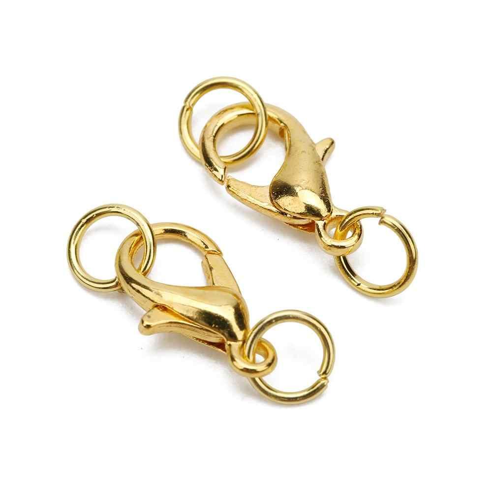 20 stücke 10 12 14mm Karabiner Haken Set Metall Eisen Gold Farbe Jump Ringe Ende Verschlüsse Anschlüsse Halskette liefert Für Schmuck