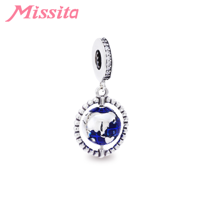 MISSITA Mini Blue Planet Globe Beads fit Brand Bracelets Necklaces for Women Jewelry making Charm Jewelry Accessories in Charms from Jewelry Accessories