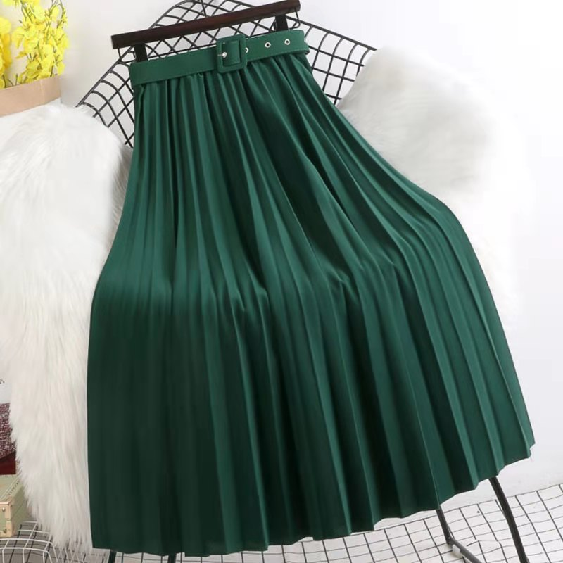 New Spring Summer Mid Dress High-Waisted Skirt Vintage Women Pleated Skirts With Belt Lady 8 Colors Fashion Simple Ropa Mujer