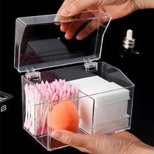 Акриловый Органайзер для макияжа 3 ячейки с крышкой ватные палочки
