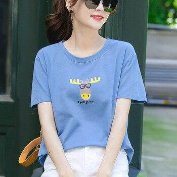 Mode Zomer Slanke Korte Mouwen 100% Katoen Afdrukken T-shirt