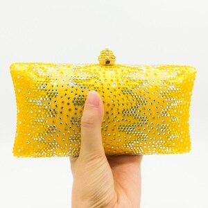 Image 2 - بوتيك دي FGG أنيقة بلورات صفراء السيدات حقيبة نسائية صغيرة مساء حفل زفاف المحافظ وحقائب اليد حقيبة الماس الزفاف