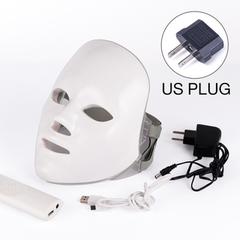 7 Colors Led Therapy Mask Light Face Mask Therapy Anti Acne Whitening Facial Mask Korean Skin Care Face Rejuvenation Home SPA - US Plug nobox