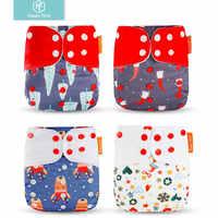 Happyflute 4 unids/set pañal de tela de bebé cubierta Navidad y Halloween imprime pañales reutilizables lavables pañales de bolsillo Ajustable