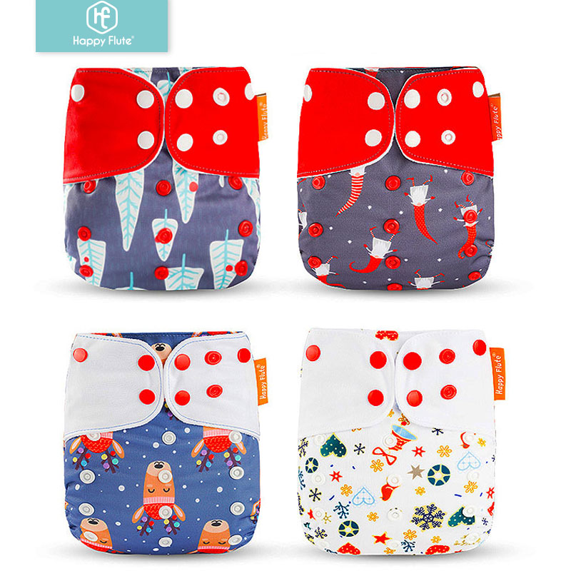 Happyflute 4Pcs/Set Baby Cloth Diaper Cover Christmas And Hallowmas Prints Nappies Reusable Washable Ajustable Pocket Diapers