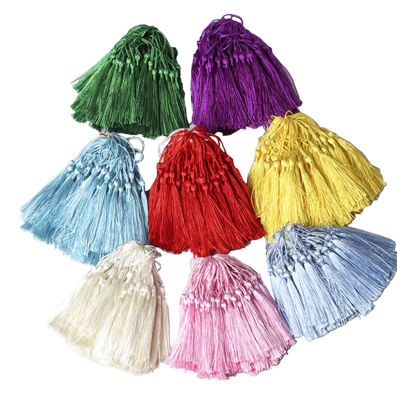 50PCS/Pack 8cm Color Hanging rope Polyester Tassels Fringe Sewing Bang Tassel Trim Key Tassels For DIY Embellish Curtain Access