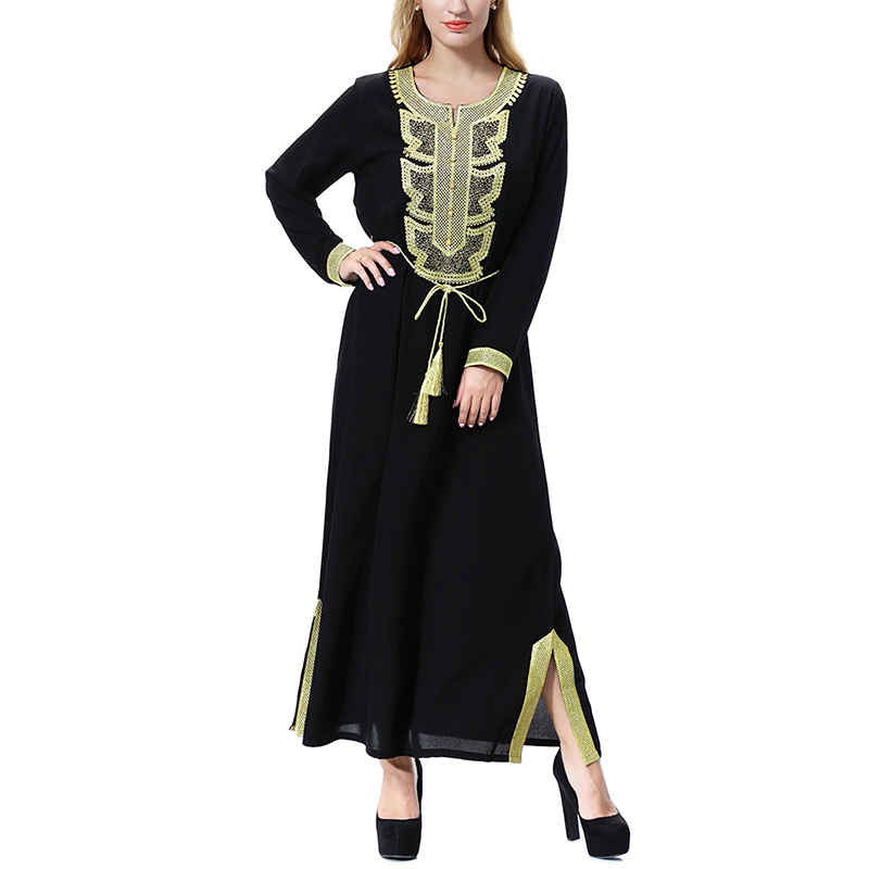 Abaya Dubai 2020 Clothing for Women Side Split Fashion Elegant Abayas Ladies Embroidery Dress for Islamic Eid Vestidos