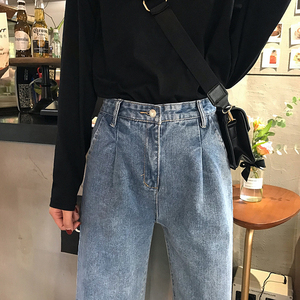 Image 4 - Jeans Women Spring Summer Trendy Korean Style All match Simple High Waist Streetwear Ulzzang Womens Trousers Chic Loose Casual