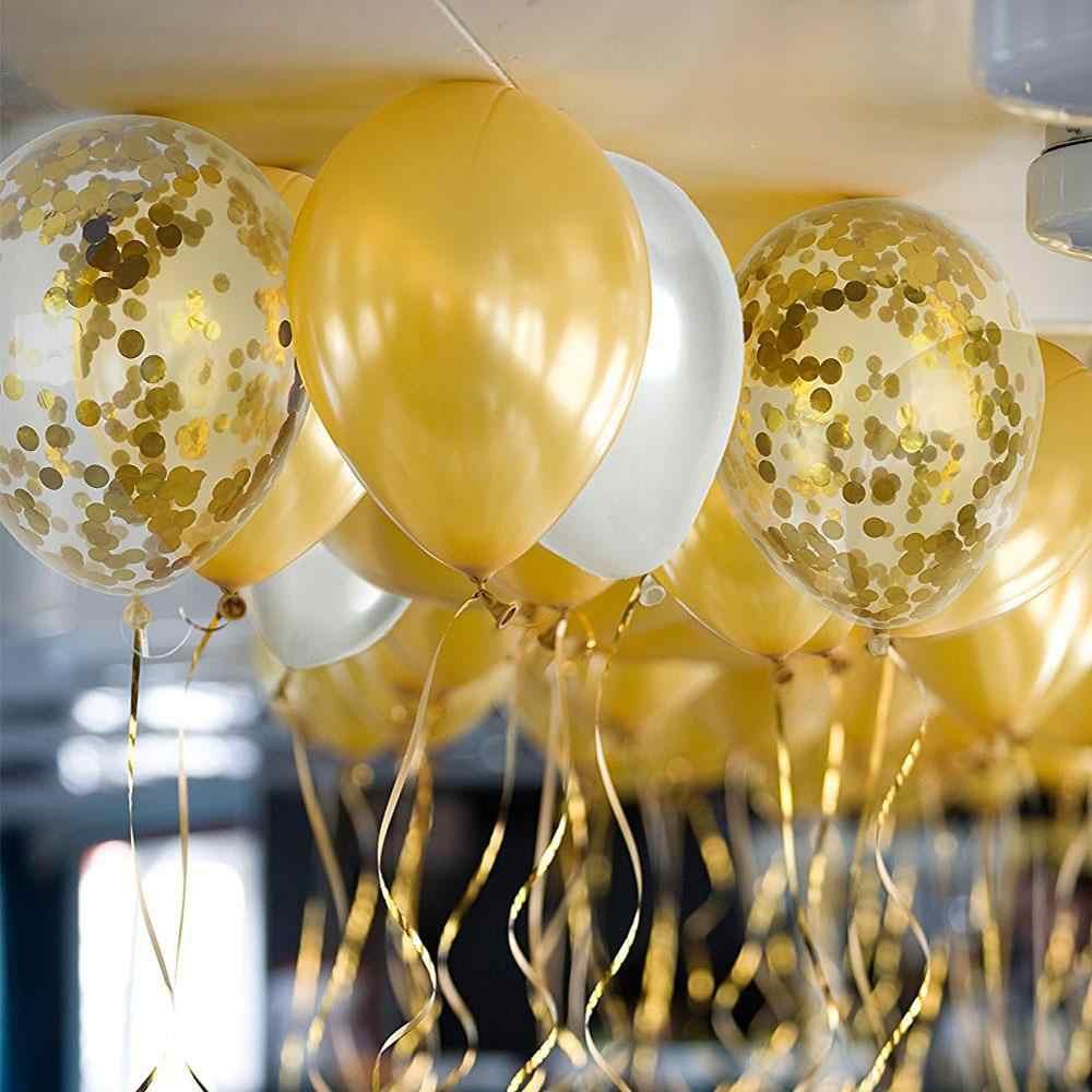 30 Pcs/lot Emas Hitam Confetti Balon LaTeX Pesta Ulang Tahun Dewasa Dekorasi Balon Pernikahan Bayi Shower Ulang Tahun Balon