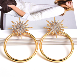 New Crystals Metal Round Earrings Statement Big Hoops Drop Earrings High-quality Fashion Jewelry Accessories For Women