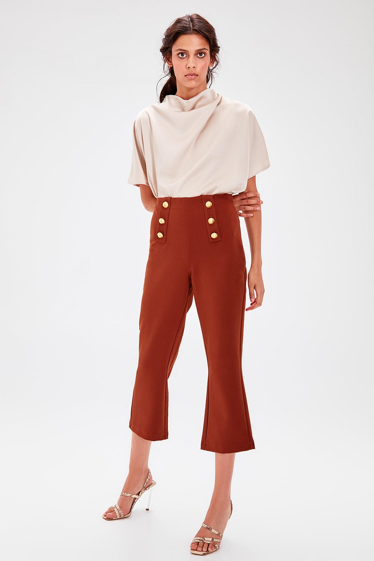Trendyol Kahverengi Button Detail Pants TWOAW20PL0096
