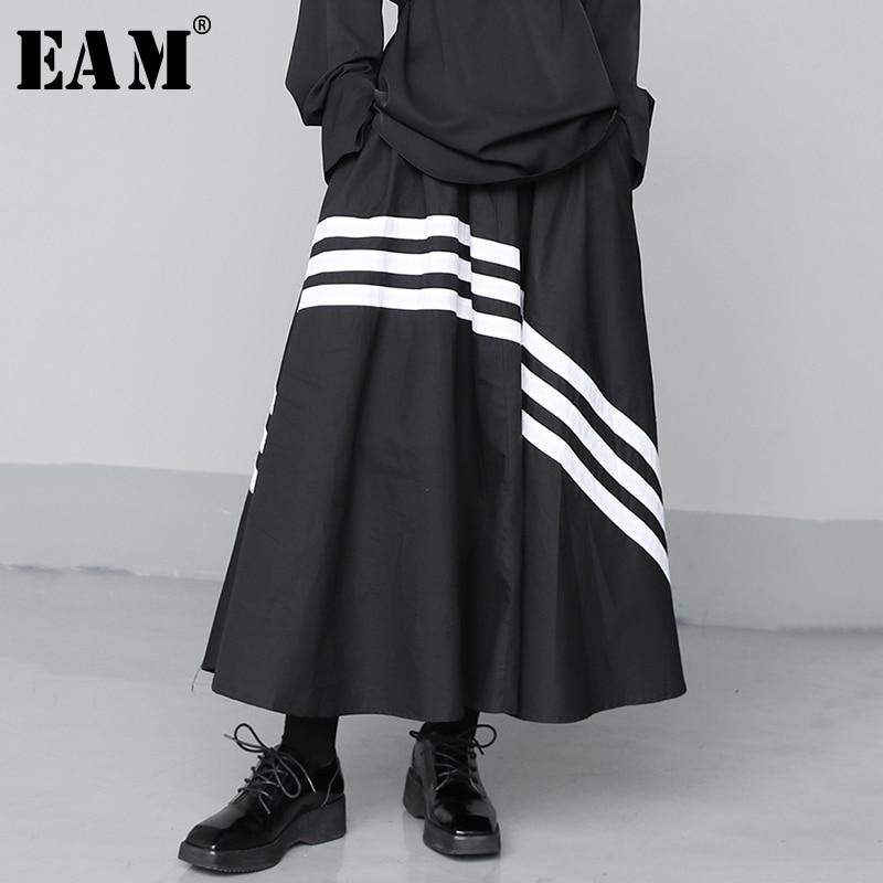 [EAM] High Elastic Waist Black Striped Split Joint Temperament Half-body Skirt Women Fashion Tide New Spring Autumn 2020 1T635